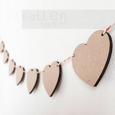 £3.90 • Buy Wooden Party Bunting Hearts Flags Wedding Craft Blanks MDF Wood Shapes