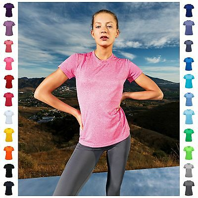 Ladies Fitness Running Short Sleeve T Shirt Tee Top Gym Sports Yoga Breathable • 8.25£