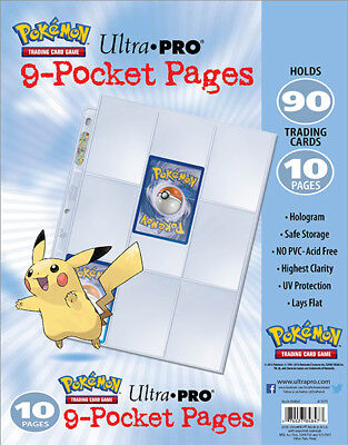 £7.91 • Buy ULTRA PRO Embossed Pikachu 9 Pocket Pages Sleeves Pokemon TCG Card Storage X 10