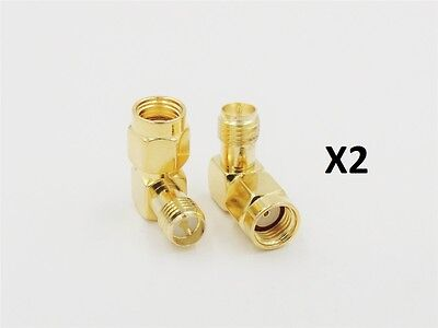 £2.95 • Buy RP-SMA Male Jack Center To RP-SMA Female Right Angle RF Coax Coaxial Adaptor X 2