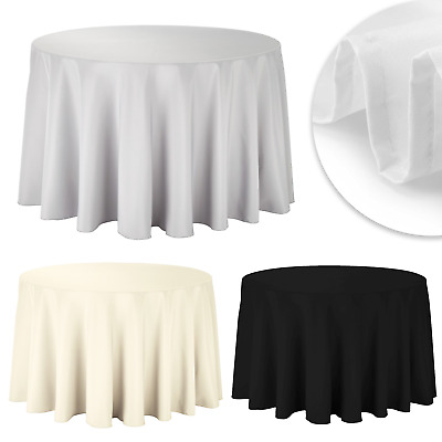 £9.99 • Buy Round Table Cloth Cover Polyester Tableware Wedding Party Plain Tablecloths