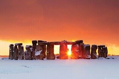 STONEHENGE ~ SNOW 24x36 PHOTOGRAPHY POSTER Tom Mackie England Travel NEW/ROLLED! • 7.71£