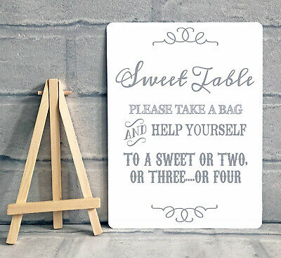 Sweet Table Candy Stall Cart Buffet Jar Sign With Easel Wedding Party A5 - Grey • 8.95£