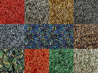 50g Glass Twisted Bugle Beads - Approx 6mm Tubes - Choice Of Colours, Craft • 1.99£
