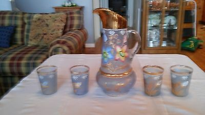 $249 • Buy Antique Pitcher With Four Tumblers Fenton/Northwood Cherries And Flowers