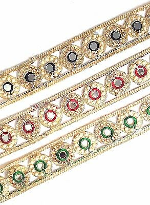 NEW Gold Pearl Embroidery Indian Sari Border Lace Ribbon Trim Ethnic Craft • 3.79£