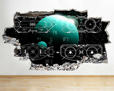 R143 Spaceship Interface Cool Kids Smashed Wall Decal 3D Art Stickers Vinyl Room • 22.99£