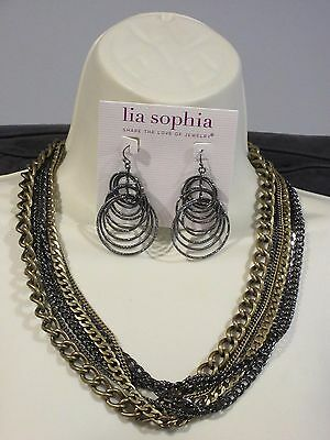 $ CDN28.86 • Buy LOT OF 2: Lia Sophia VOLTAGE EARRINGS & PREMIER DESIGNS HEAVY METAL NECKLACE