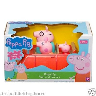 Peppa Pig Push And Go Red Car Vechicle & Mummy Daddy & Peppa Pig 3 Figures 18m+ • 18.68£