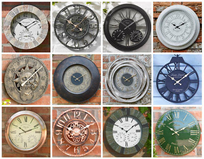 £21.99 • Buy Large Classic Round Face Indoor/Outdoor Garden Wall Clock Roman Numeral Sundial