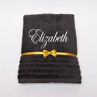 New EMBROIDERED PERSONALISED BATH TOWEL Ideal Gift Set ANY NAME Combet Cotton • 9.99£