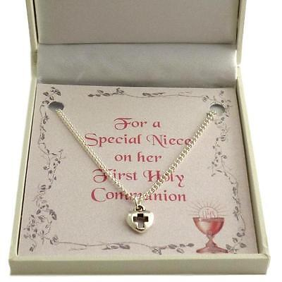 First Holy Communion Necklace For Girl. Heart With Cross Pendant. Gift Boxed. • 9.99£