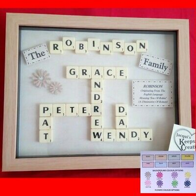 FAMILY FRAME Personalised Picture Gift Keepsake CUSTOM MADE SCRABBLE • 23.99£