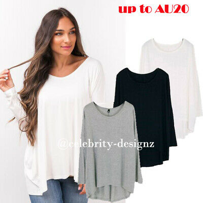 AU19.99 • Buy Womens PLUS SIZE T-shirt Loose Fit Batwing Sleeve Top Black Grey White 8-18 Tp17