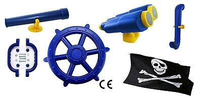 Kids Climbing Frame Mega Blue Accessories Bundle With Pirate Wheel Flag And More • 45.99£