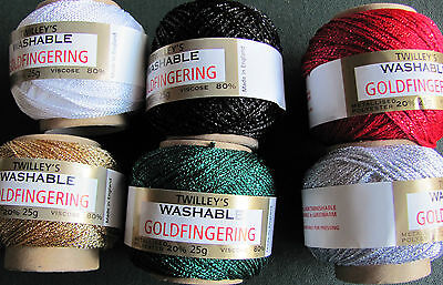 £3.19 • Buy Twilleys Goldfingering 3 Ply Sparkly Yarn. All Colours. Combined Postage Fee.