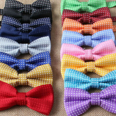 New Baby Toddler Boys Pre Tied Jacquard Weave Spotty Bow Tie Dickie Bow **UK** • 3.99£