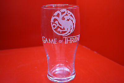£12 • Buy Laser Engraved Pint Glass Game Of Thrones Targaryen 3 Dragons Fire And Blood