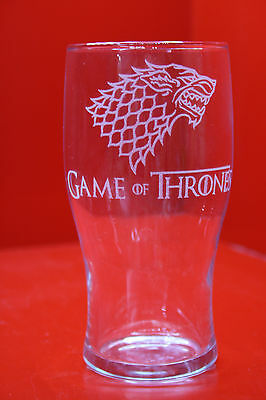 £12 • Buy Laser Engraved Pint Glass Game Of Thrones Stark Dire Wolf Design