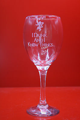 £12 • Buy Laser Engraved Wine Glass Game Of Thrones I Drink And I Know Things Lion Tyrion