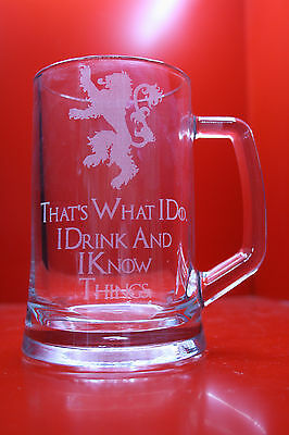 £20 • Buy Engraved Glass Tankard Game Of Thrones I Drink And I Know Things Tyrion