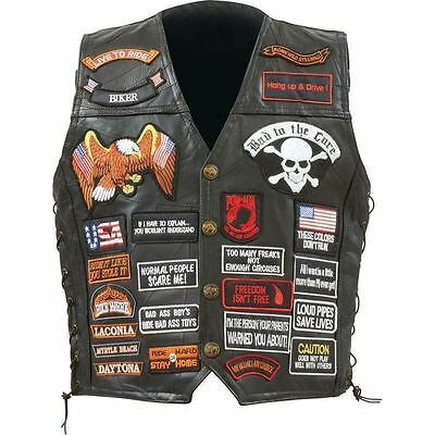 $57.39 • Buy Diamond Plate™ Rock Design Genuine Buffalo Leather Biker Vest With 42 Patches