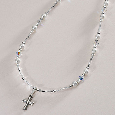 Sterling Silver Necklace With Cross. First Holy Communion Day Gift For Girl. • 19.99£