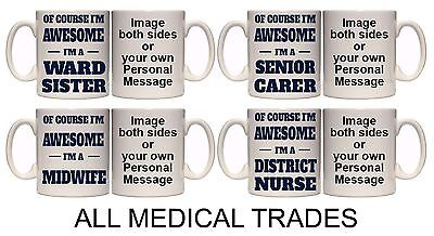 MEDICAL TRADES I'M AWESOME PERSONALISED MUG & COASTER. (M7) 11oz & 15oz GIFT • 10.40£