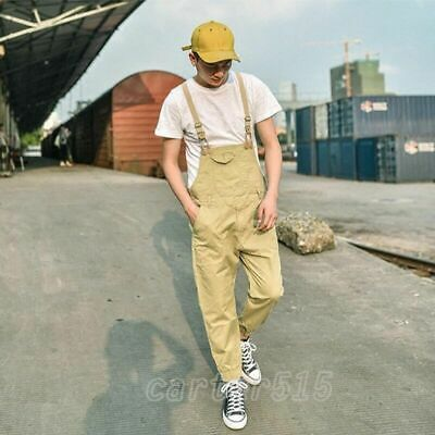 $35.66 • Buy New Fashion Mens Casual Loose Cotton Overalls Suspender Pants Jumpsuits Trousers