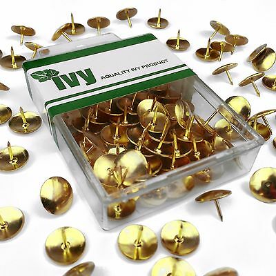 Ivy Stationery - Large Brassed Drawing Pins - Thumbtacks- Pack Of 50 - 12mm Head • 2.69£