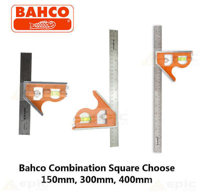 Bahco Combination Set Square Stainless Steel Ruler Choose 150mm, 300mm, 400mm • 12.99£
