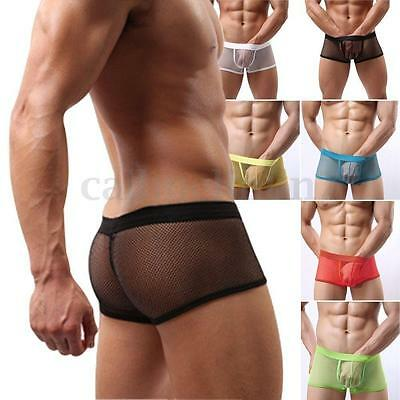 Sexy Mens Mesh Underwear Pants Transparent See Through Boxer Briefs Shorts UK • 4.91£