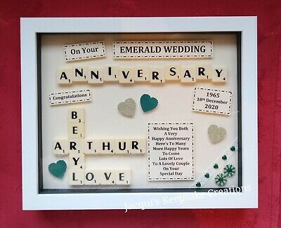 Personalised ANNIVERSARY Gift Picture Frame Keepsake SCRABBLE Box • 23.99£