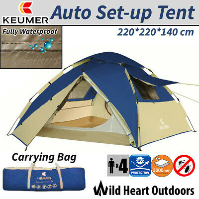 AU79.95 • Buy 4 Person Tent Auto Set-up Double-Layer Blue Family Camping Hiking Dome Tent
