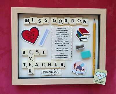 TEACHER Thank You GIFT FRAME Personalised Picture Keepsake MALE Scrabble School • 21.99£