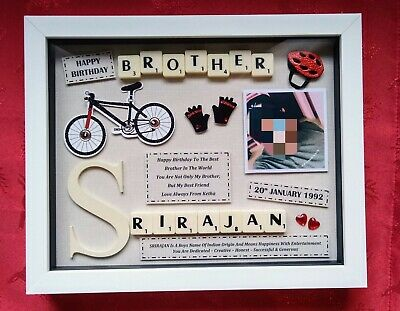 £25.99 • Buy BROTHER BIRTHDAY GIFT Personalised Picture Frame Keepsake SCRABBLE Plaque