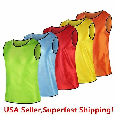 Pack Of 6 & 12  Soccer Jersey Bibs Adult Sports Team Scrimmage Training Vests • 12.99$