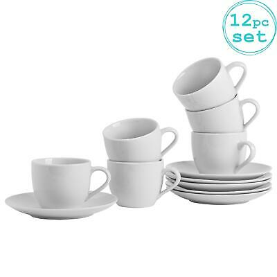 £16.49 • Buy 12pc White Tea Cup And Saucer Set Porcelain Cappuccino Teacups 220ml