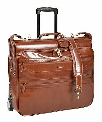 LEATHER Suit Carrier Dress Garment Travel Weekend Bag On Wheels Chestnut • 269.10£