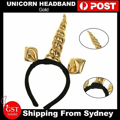 AU5.93 • Buy Gold Unicorn Headband Fancy Dress Festival Fun Accessory Adults And Kids Party