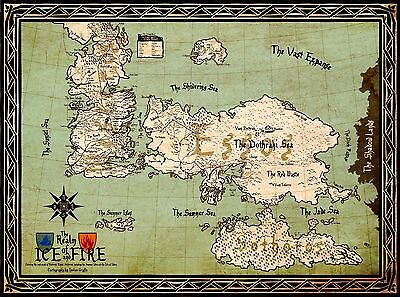 £4.95 • Buy A3 Game Of Thrones The Realm Of Ice And Fire Map POSTER GOTW02 BUY 2 GET 1FREE