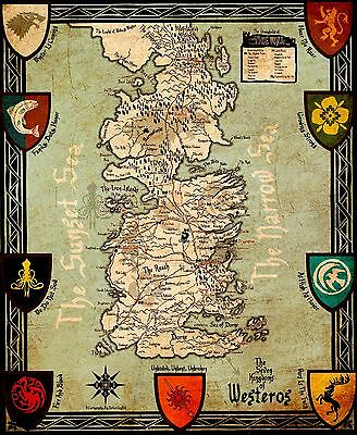 £4.95 • Buy A3 Game Of Thrones The Realm Of Ice And Fire Map POSTER GOTW03 BUY 2 GET 1FREE