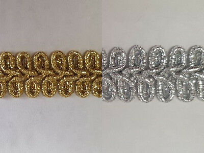 £3.24 • Buy Gold Or Silver Military Style Lurex Braid Trimming 10mm Wide