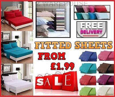 Fitted Sheet Percale Single 4ft Small Double King Super King Size Or Pillowcase • 2.49£