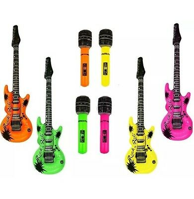 £9.75 • Buy 4x Inflatable Microphone 4x Guitars Music Instrument Rockstar Fancy Dress Party