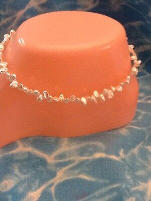$ CDN33.02 • Buy Natural MINI KEISHA PEARL ANKLET 10 Inches Sterling Silver Lobster Clasp