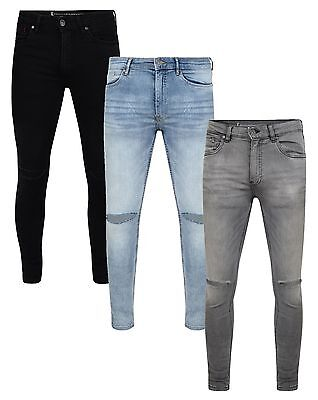 Ringspun Mens Fashion Jeans Super Skinny Stretch Denim Slim Narrow Tight Pants • 22.99£