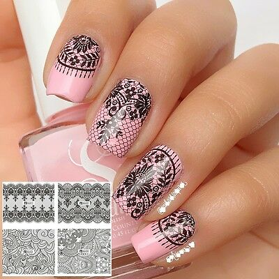 £1.85 • Buy Nail Art Water Decals Stickers Transfers Black Lace Roses Wedding Gel Polish