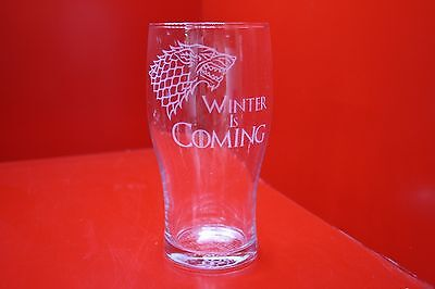 £12 • Buy Engraved Pint Glass Game Of Thrones Stark Dire Wolf Design Winter Is Coming