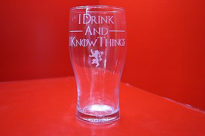 £12 • Buy Engraved Pint Glass Game Of Thrones I Drink And I Know Things Lannister Lion